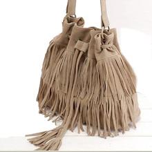 Women bag ladies shoulder Summer women's handbags famous brands canvas Brown soft bag with fringe tassel Fashion Messenger Bag