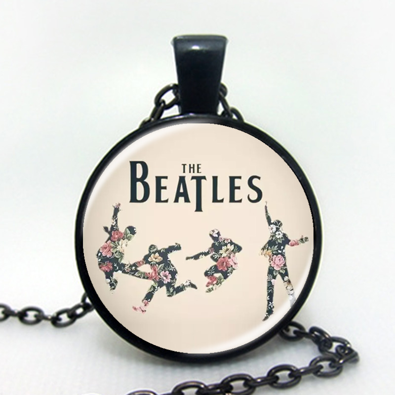 Newest 2016 Fashion The Beatles Necklace Fashion Rock Band Pendant Glass Necklaces Pendants Music(China (Mainland))