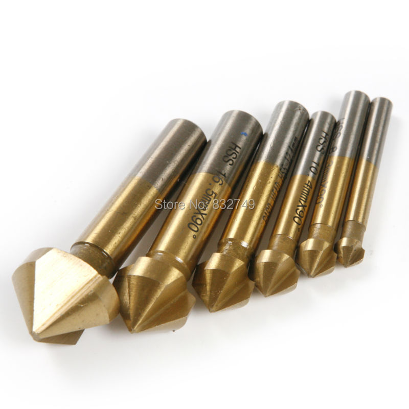 6Pcs High Carbon Steel Single Flute Titanium Coated Edge Chamfer Chamfering 90 Degree Wood Countersink Drill