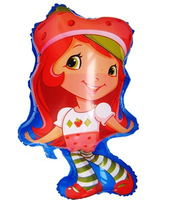 wholesale 10pcs/lot 75x42m foil Strawberry Shortcake Helium foil balloons cartoon balloons for party kids gift free shipping(China (Mainland))