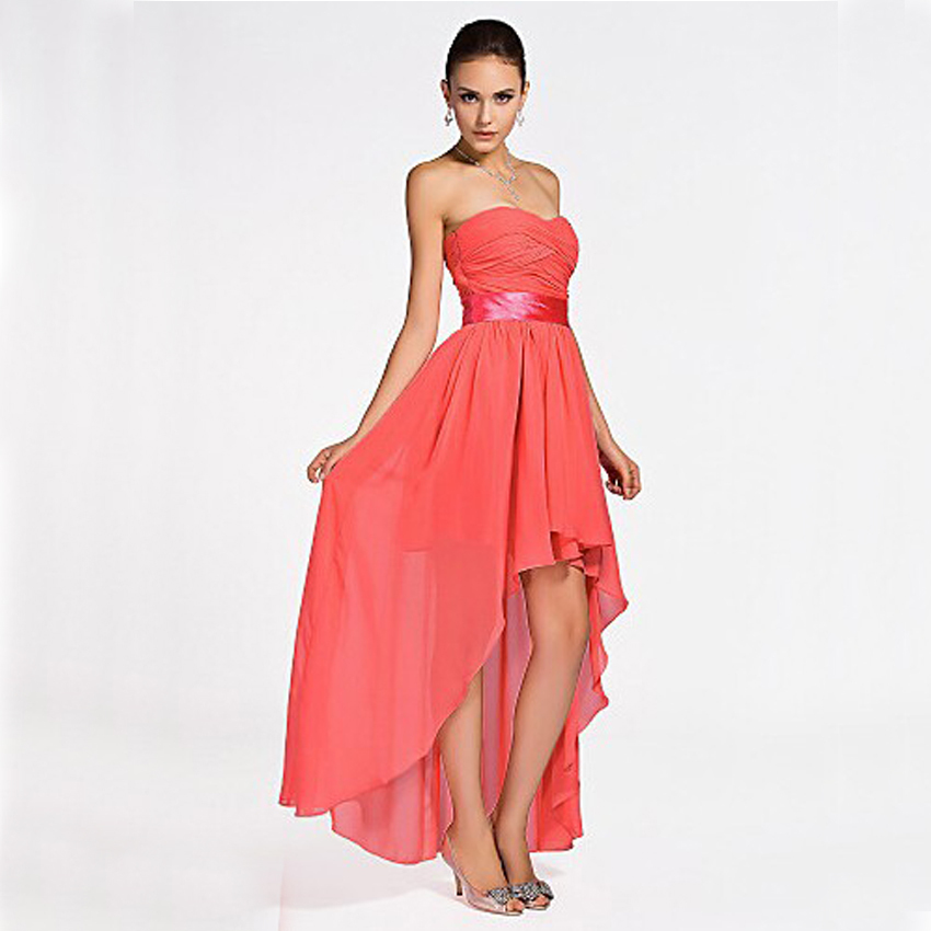 Cheap customized plus size coral colored high low for Colored wedding dresses plus size