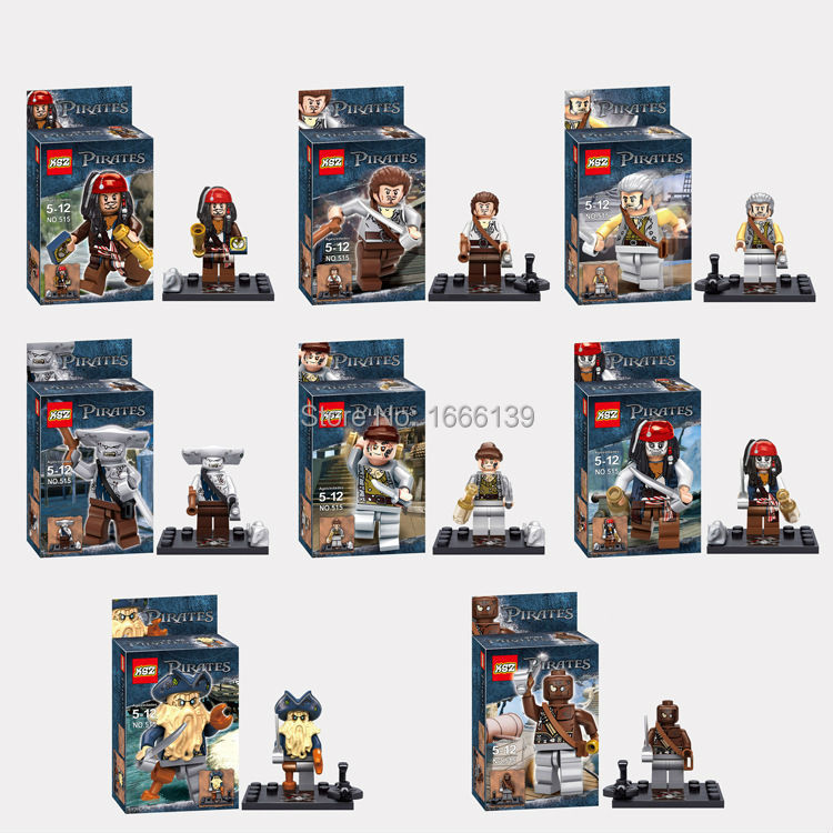 Pirates of the Caribbean Captain Jack Sparrow Davy Jones Maccus minifigures block toys 4184 minifigures compatible with lego(China (Mainland))