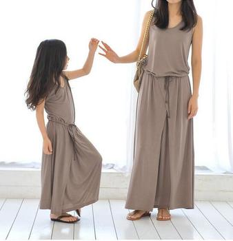 Mommy and Daughter Clothe Casual Dresses Family Matching Outfits Summer Spring Family Look Family fitted DRESS Sets