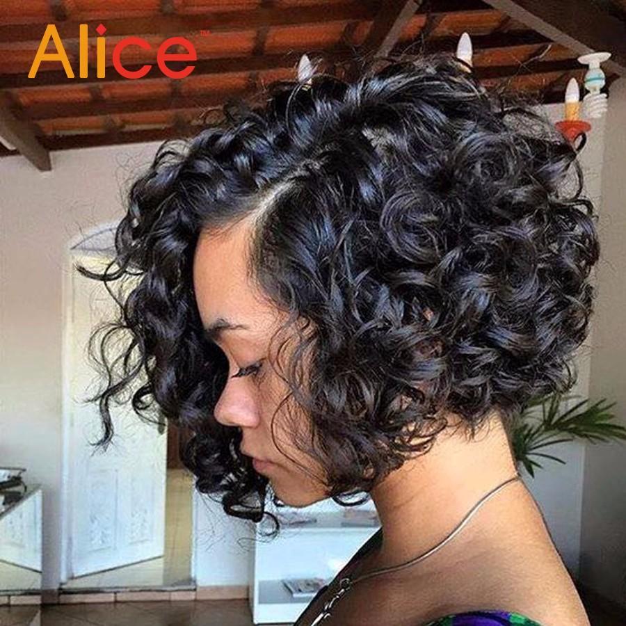 Curly Wig Glueless Full Lace Human Hair Wigs Short Human Hair Lace Front Wigs Black Women Brazilian U Part Bob Wig Black Friday