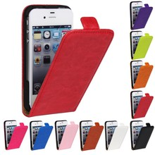 Retro Luxury Mobile Phone Bags Cases Crazy Horse Flip Cover PU Leather Case For Apple iphone4