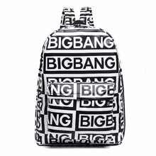 2016 Korean style fashion kpop black canvas bigbang fans bagpack G-dragon punk rock backpack school bag teenager girls XJ366 - happiness bride store