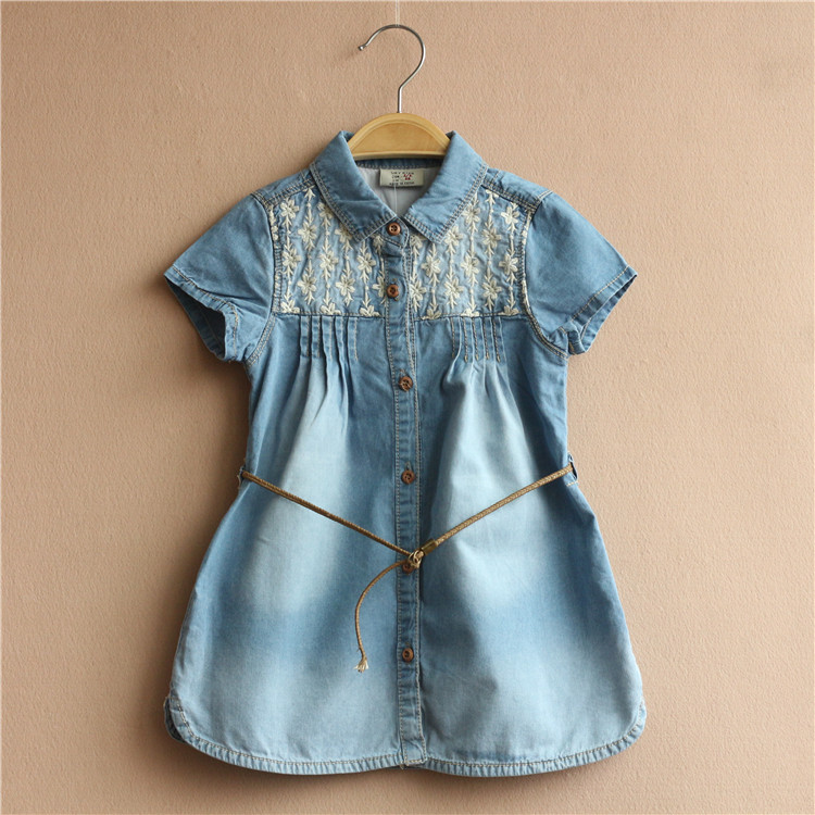 Free Shipping 5 Pieces/lot New 2016 summer 2-7T girls Lapel cotton short sleeved denim shirt denim waistband dress<br><br>Aliexpress