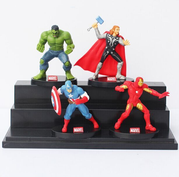 DHL 50sets/lot Superheroes The Avengers Iron man Hulk Captain America Thor PVC Dolls Action Figure Model Toys<br><br>Aliexpress