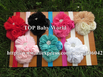 hot selling shabby flower with soft baby headbands girl hairbands hair accessories kids headbands  7pcs/lot free shipping