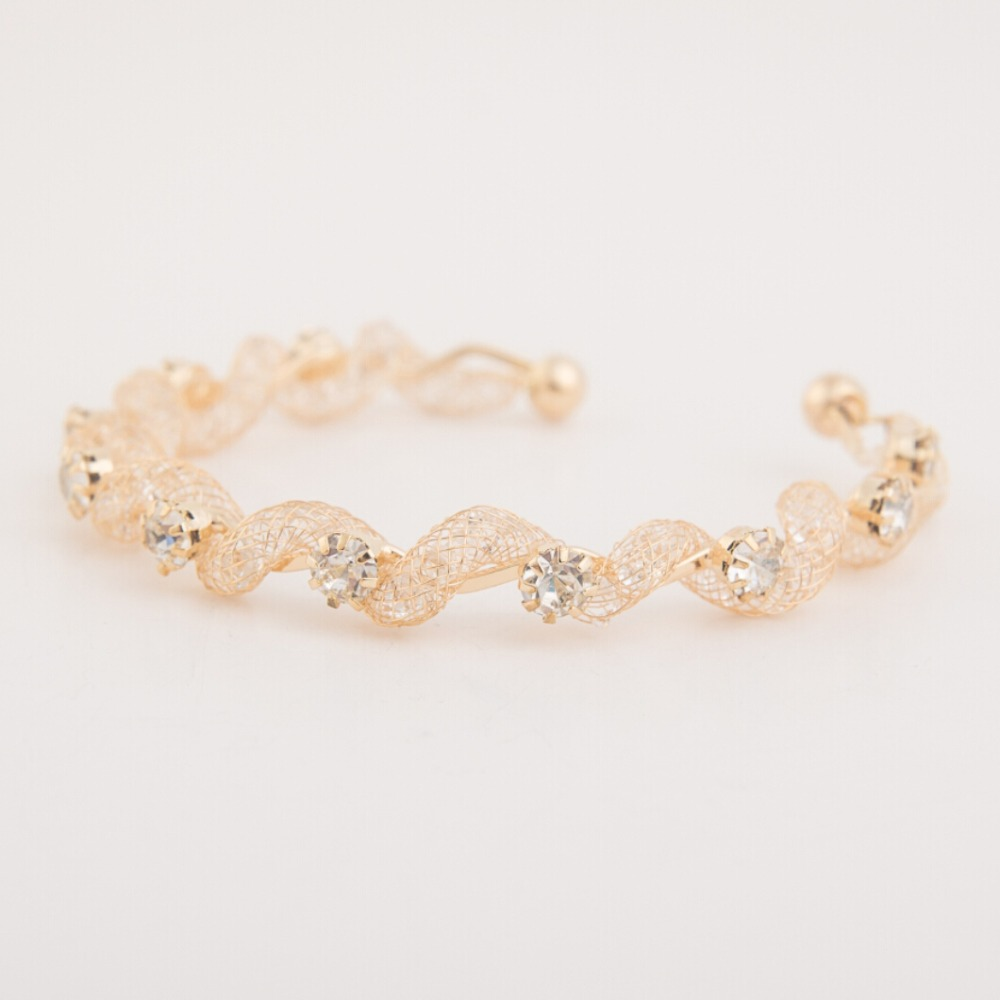 Gold color Noble Style big imitation diamond full Crystal Snake Bangles Women Stardust Bracelet(China (Mainland))