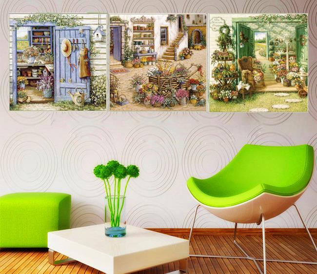 Wall Art For Garden Rooms : Aliexpress buy piece european garden painting