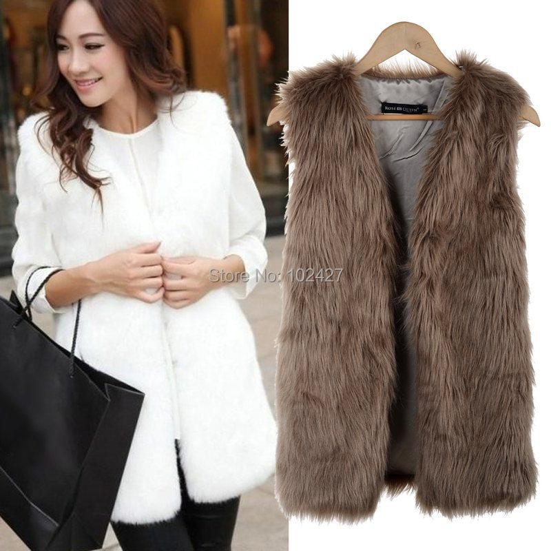 Winter Women Fur Vest New Fashion Waistcoat Women Fake Fur Sleeveless Vest Coat V-Neck Long Waistcoat Jacket Outwear Size S-XXXL