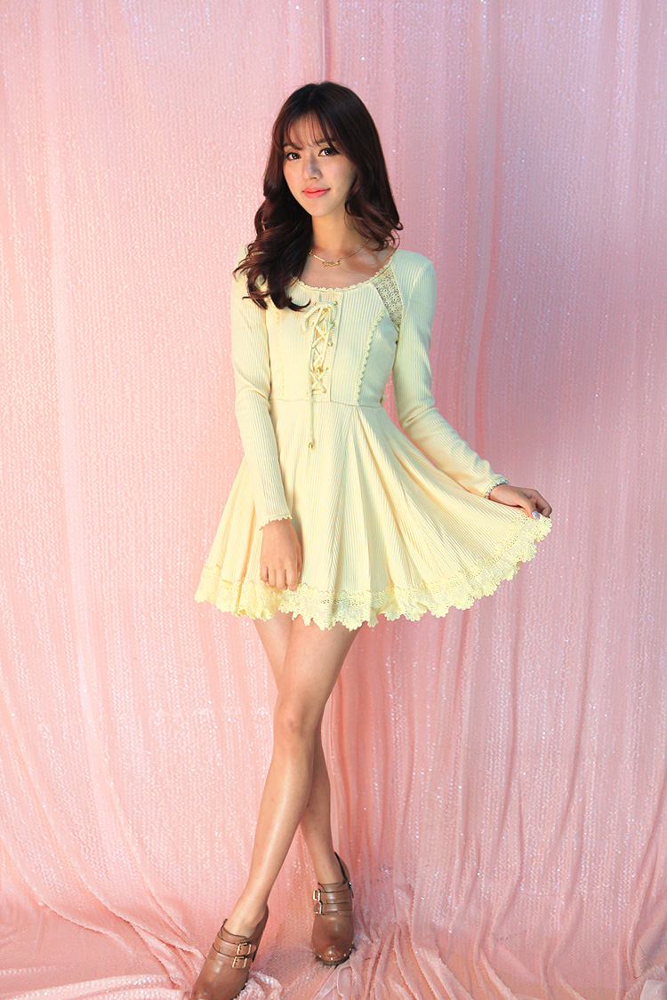 Здесь можно купить  Princess sweet lolita dress  Flower UncleHollow out net yarn splicing bind bowknot backless vertical stripes knit dress UF78  Одежда и аксессуары