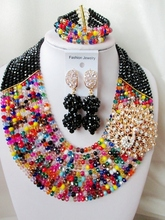 Fashion  NEW African Beads Jewelry Set Crystal Beads Necklace Set Nigerian Wedding African Jewelry Set Free shipping   EX-041(China (Mainland))