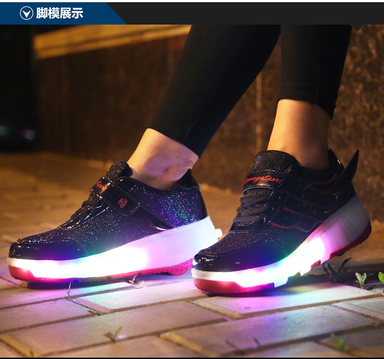 2016 New Arrived Children Heelys shoes Girls Boys Wing Led Light Sneakers Shoes With Wheel,Kids Roller Skate Shoes