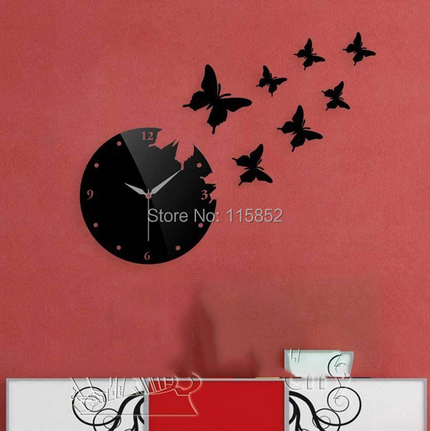 ! Material DIY Mirror Wall Clock Butterfly Home Decoration Fashion Modern , Clocks Designs - Joya Store store