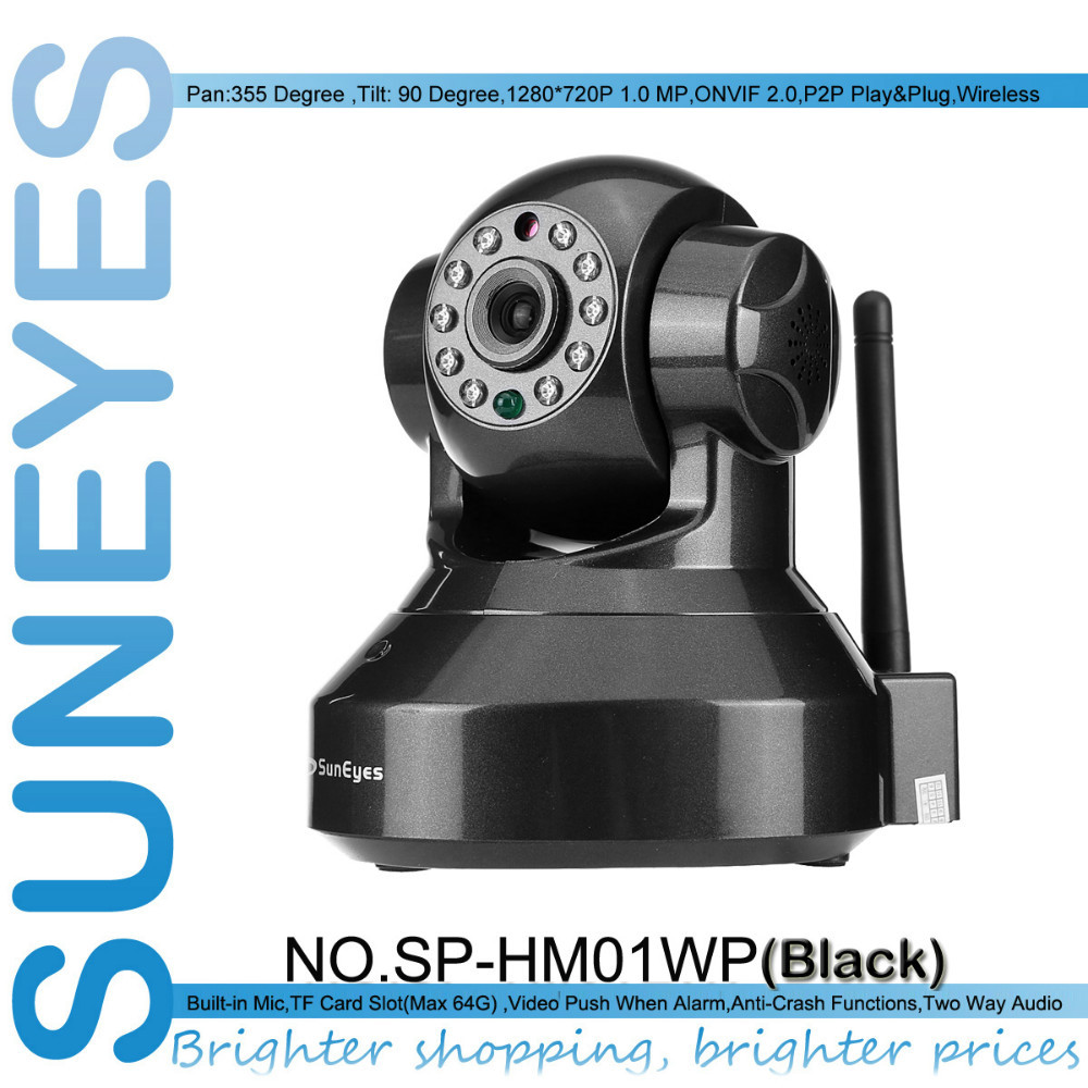 SunEyes SP-HM01WP 720P 1.0MP HD IP Camera Wireless P2P Plug and Play IR Cut Night Vision Pan/Tilt Two Way Audio Micro SD Slot(China (Mainland))