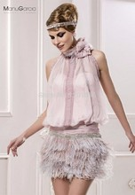 New Arrival Sheath Halter Lavender Long Feather Beaded Chiffon Backless Short Mini Women Party Short Cocktail Dresses 2017(China (Mainland))