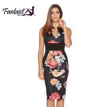 Buy Fantaist Women Summer Vintage Sleeveless Sexy Patchwork Floral Print Elegant Evening Party Casual Office Work Slim Pencil Dress for $11.21 in AliExpress store