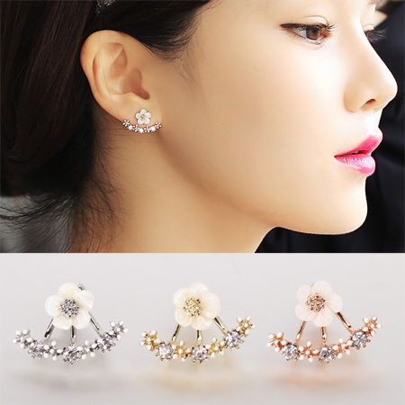 2016 Fashion Earing Big Crystal White Gold Silver Jewelry High Quality Flower Ear Clips Stud Earrings For Women Brinco E2229(China (Mainland))