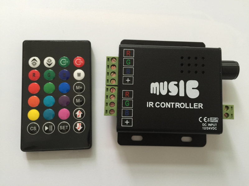 LED Music IR Control RGB Sound/Audio Controller With 24Key Remote 12V/24V 12A(China (Mainland))