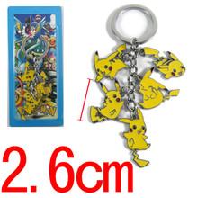 anime figures Cartoon Pokemon Pikachu Keychains Metal Figures Pendants Key Chains Free Shipping Anime 10pcs/lot(China (Mainland))