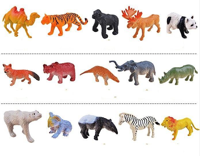 32pieces/pack Simulation Plastic Wild Animal World Figures Toys Lion Tiger Elephant Set(China (Mainland))