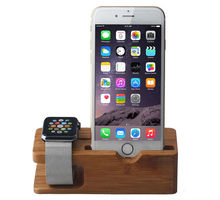 Natural Bamboo Charging Dock Station Bracket Cradle Stand Holder For APPLE iPhone 6PLUS/6/5S/5C/5/4S/4/For i watch