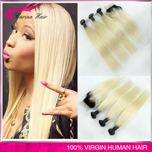 Ombre Closure With Bundles Peruvian Blonde Black Roots Extensions 1b/613 Straight 3/4PCS With Lace Closure 8″-30″ Free Shipping