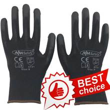 NMSAFETY 12 pairs Lightness comfortable black polyester/nylon work safety gloves,electrician safety gloves(China (Mainland))