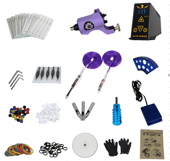 NEWEST Free shipping Cheap beginner Complete Tattoo Kit Machine combine power system Needles Grip(China (Mainland))