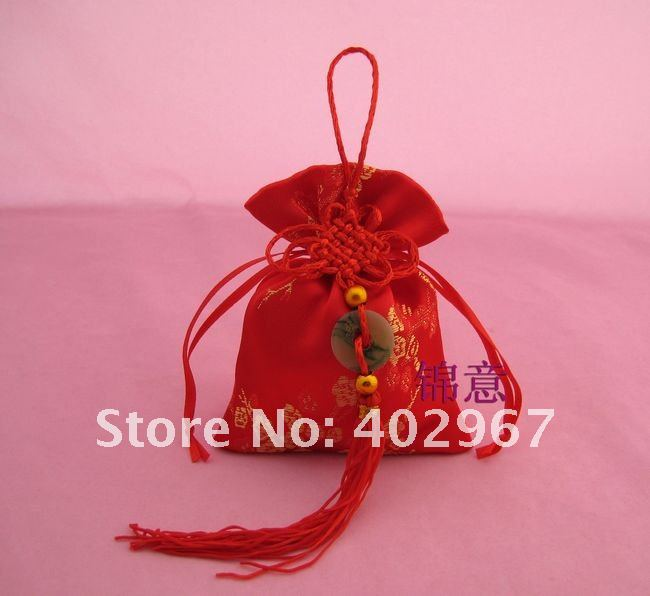 Free shipping 200pcs/lot 9*12cm Chinese Knot Wedding Brocade Favors bags favor gift candy packaging(China (Mainland))