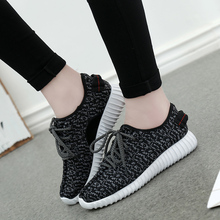 2016 Summer Popular Deportivas Air Yeezy Shoes Women Breathable Unisex Flats Soft Walking Lace-Up Wedge Mesh Casual Basket Shoes(China (Mainland))