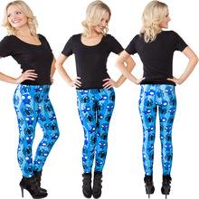 Europe Spring 2016 new women sexy blue Spiderman digital printing pants leggings feet