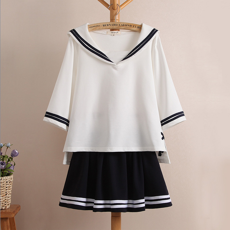 Japanese School Girl Uniform Seven Sleeve All-match Culottes Navy Sailor Uniform Suit Female College Students Navy Seal Uniform(China (Mainland))