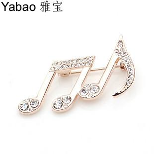 Yapolo the notes brooch rhinestone pin brooch corsage pins corsage a0664(China (Mainland))