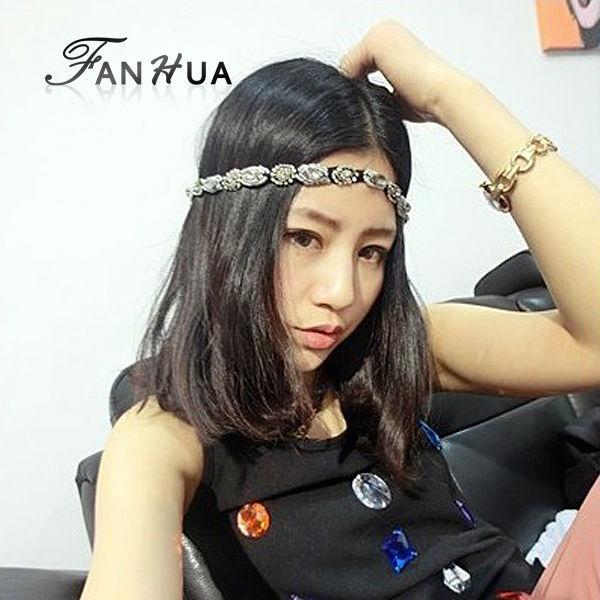 FANHUA Summer Style Black Elastic Ribbon With Rhinestone Beads Romantic Designer Headbands Hair Jewelry Hairwear For Women(China (Mainland))