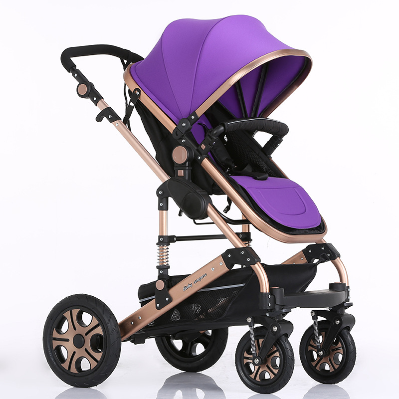 Luxury Baby Stroller Folding Baby Carriage High Landscape Sit and Lie for Newborn Infant Four Wheels 6 Colors(China (Mainland))
