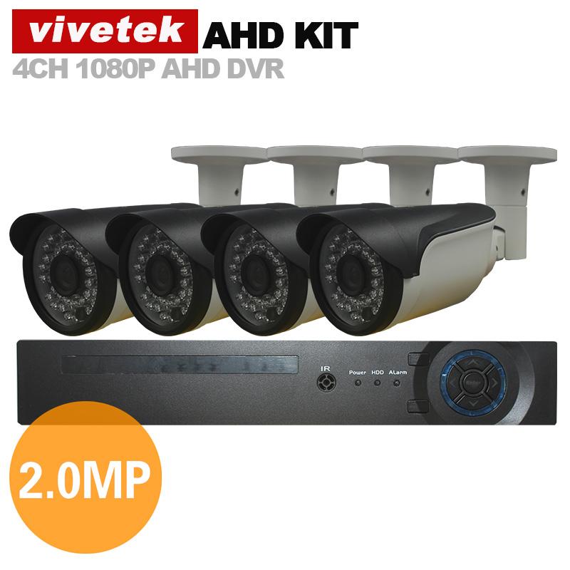 Vivetek Home Security Video CcTV System 4ch 1080p Ahd Kit 1080p Ahd CcTV Dvr 4PCs 2.0mp Metal Ir Wat