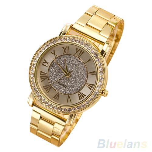Мужчины наручные часы Ретро Позолоченный Кристалл Бизнес Случайный Сплава Аналоговые Кварцевые Часы 23KH