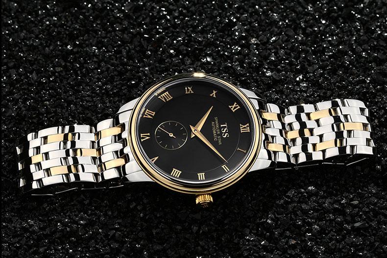 Оригинал Люксовый Бренд TSS Carftsmaen Мужчины Полный Стальной ленты Часы Мужские золотые Механические Часы Часы Бизнес Мужчины Наручные Часы