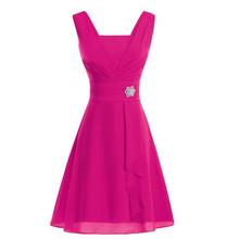 Vestido De Noiva New MInt Green Bridesmaid Dress Short Chiffon Pleat  Emerald Orange Yellow Wedding Party c21d4f928a78