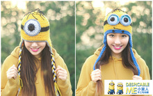 Free Shipping Novelty Despicable Me Minions Beanie Winter Knitted Hat For Women(China (Mainland))
