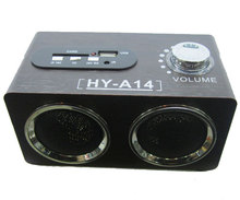 Free shipping HY-A14 Wooden speaker mini dock speaker music box Support Ipod/Mp3/Mp5/PC&Phone/U disk MP3 Format in stock