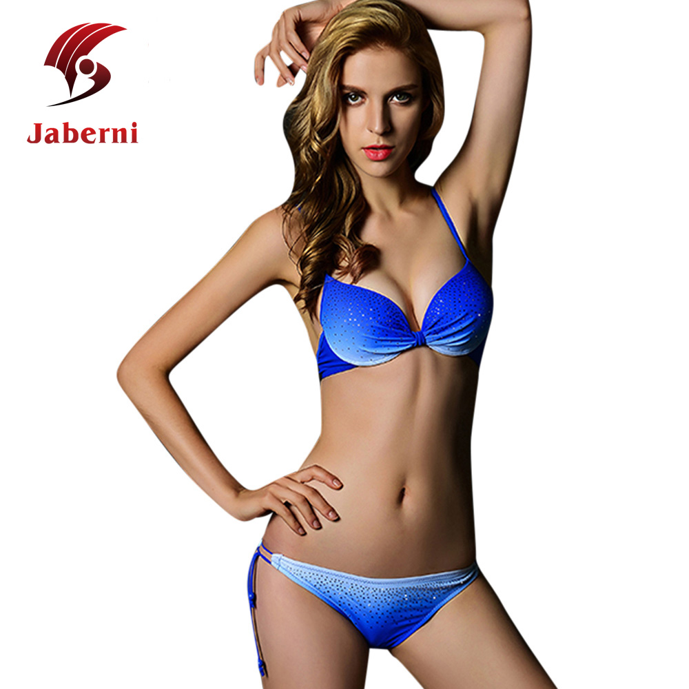 Jaberni 2016 Sexy Push Up Bikini Set Solid Female Swimsuit Diamond Beachwear Strappy Women Bathing Suit Plus Size Swimwear XXL(China (Mainland))