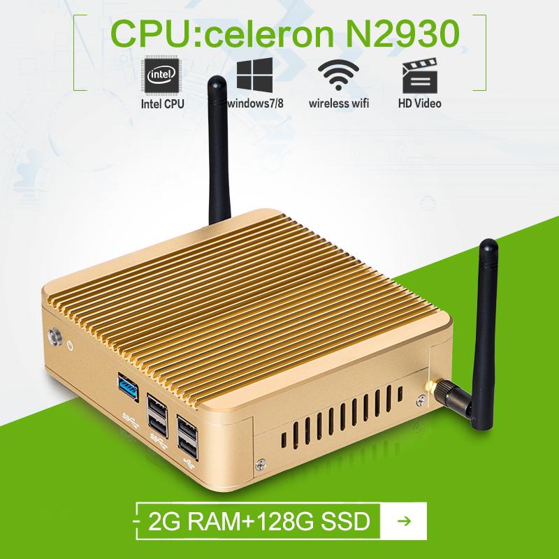 Factory price! thin client windows7 Quad -core Celeron x30- N2930 1.83GHZ 2gb ram 128gb ssd connect to wifi mini pc(China (Mainland))