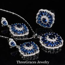 ThreeGraces Королевский Синий Стерлингового Серебра 925 Инкрустация Высокое Качество Кубический Цирконий Камень Ожерелье Набор Для Женщин JS193(China (Mainland))