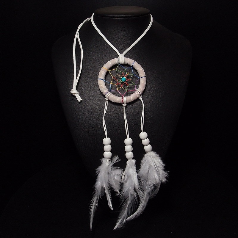 62cm Discount White Handmade Necklace Fashion Feather Pendants Genuine Luckly Dreamcatcher Jewelry Multi Layer Handmade Necklace(China (Mainland))