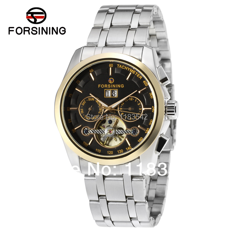 Здесь можно купить  2014 Forsining  Automatic men new fashion tourbillon with stainless steel band  watch free shipping  Ювелирные изделия и часы