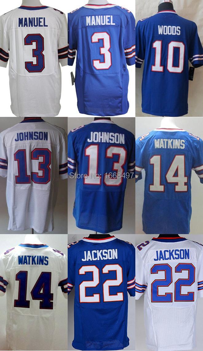 Buffalo 3 EJ Manuel,10 Robert Woods,13 Steve Johnson 14 Sammy Watkins 22 Fred Jackson Football Jersey Authentic Free shipping(China (Mainland))